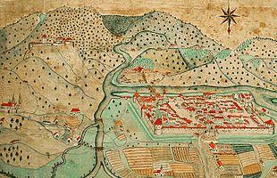 Celje in un disegno del 1441. Il fiume Voglajna a sinistra fluisce nella Savinja, che scorre fino ad entrare nella Sava. A destra della Savinja si può vedere un'isola. Ancora oggi una circoscrizione è chiamata Otok (