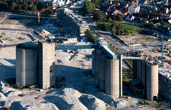 Cement factories are part of the manufacturing industry. This factory is in Malmo, Sweden. Cementfabriken pa Limhamn-flygbild 06 september 2014.jpg
