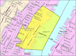 Census Bureau map of Weehawken, New Jersey
