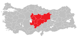Location of Central Anatolia Region