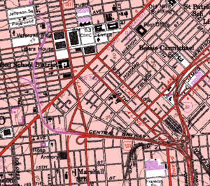 Central Freeway - Map of the Central Freeway (red and purple)