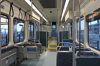 Central Link - Interior of a Kinkisharyo-Mitsui light rail vehicle, used by Sound Transit on Central Link