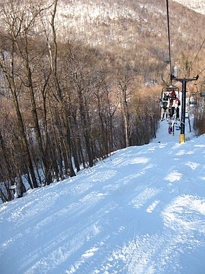 Blue Knob State Park - A chair lift over a ski trail at Blue Knob Resort