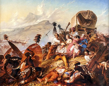 Depiction of a Zulu attack on a Boer camp in February 1838 Charles Bell - Zoeloe-aanval op 'n Boerelaer - 1838.jpg