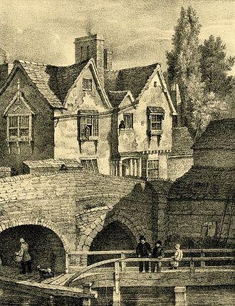"Charles Joseph Hullmandel - ""Old buildings on the West Bridge, Leicester"", c. 1830"