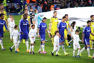 NK Maribor - Maribor and Chelsea players before the Champions League match in October 2014