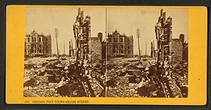 Clark Street (Chicago) - Stereoscopic image of Clark Street after the Great Chicago Fire in 1871
