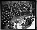 Chief Justice Hughes addressing the Joint Congressional Session on 150th Anniversary of the Congress. Seated before Hughes are Cabinet members & part of (the) Supreme Court. Left to rt. LCCN2016875156.jpg