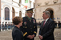 Chief of Staff of the U.S. Army Gen. Raymond T. Odierno, center, and his wife, Linda, left, talk to David Thorne, the U.S. ambassador to Italy, during a ceremony May 2, 2013, at the Italian Army headquarters 130502-A-AO884-289.jpg