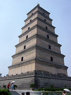 Chinese pagoda - The brick-constructed Giant Wild Goose Pagoda, built by 652 and rebuilt in 704, during the Tang Dynasty.