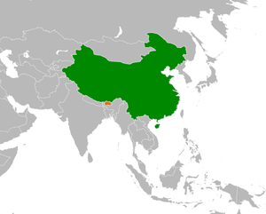 Bhutan–China border - China (green) and Bhutan (orange)