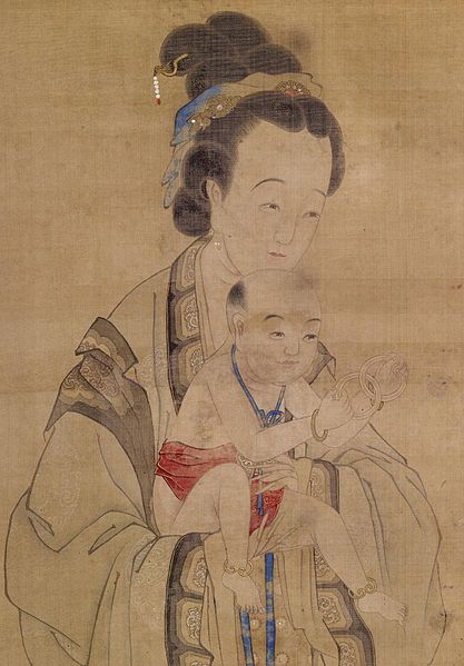 417px-Chinese_-_Mother_Presenting_her_Prayed-for_Child_to_the_Temple_-_Walters_3521_-_Detail.jpg (417×599)