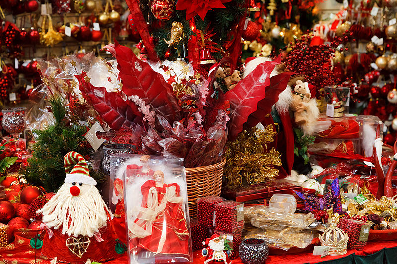File:Christmas decoration for sale in a christmas shop.jpg