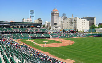 Northern California - Downtown Fresno, third most populated city in northern California and fifth in California, from Chuckchansi Park