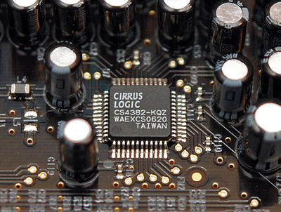 8-channel Cirrus Logic CS4382 digital-to-analog converter as used in a sound card. CirrusLogicCS4282-AB.jpg