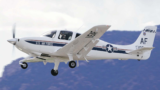 557th Flying Training Squadron - A Cirrus T-53 of the 557th taking off