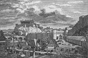 Vue romantique de Rome, avec le Tibre, le mur servien et le pont Sublicius, dominé par le Capitole et le temple dédié à la triade de Jupiter, Junon et Minerve
