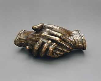 Elizabeth Barrett Browning - Clasped Hands of Robert and Elizabeth Barrett Browning, 1853 by Harriet Hosmer.