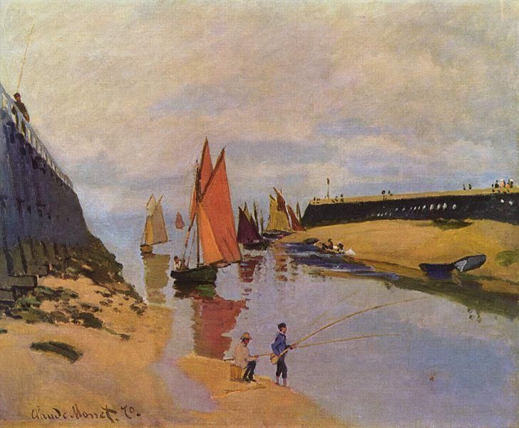 > Peinture de Monet : «Le port de Trouville» dans le musée des Beaux-Arts de Budapest.