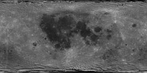 A global albedo map of the Moon obtained from the Clementine missionThe dark regions are the lunar maria, whereas the lighter regions are the highlands. The image is a cylindrical projection, with longitude increasing left to right from -180 E to 180 E and latitude decreasing from top to bottom from 90 N to 90 S. The center of the image corresponds to the mean sub-Earth point, 0 N and 0 E.