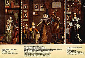 Lady Anne Clifford et sa famille dans The Great Picture attribué à Jan van Belcamp