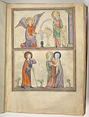 Cloisters Apocalypse - Met 68.174 f1r (Annunciation & Visitation).jpeg