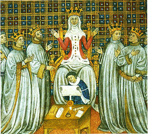 Francia - The partition of the Frankish kingdom among the four sons of Clovis with Clotilde presiding, Grandes Chroniques de Saint-Denis (Bibliothèque municipale de Toulouse).