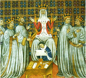 Clovis I - The partition of the Frankish kingdom among the four sons of Clovis with Clotilde presiding, Grandes Chroniques de Saint-Denis (Bibliothèque municipale de Toulouse).