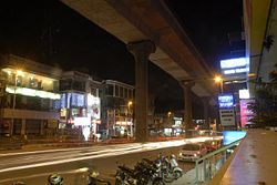 Hundred Feet Road, the main commercial area of Indiranagar
