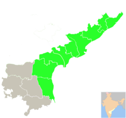 Map of Andhra Pradesh with Coastal Andhra highlighted in Green