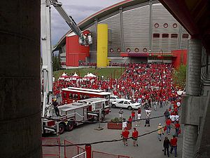 2003–04 Calgary Flames season - Fans arriving at the Pengrowth Saddledome prior to a Stanley Cup Finals game against Tampa Bay.