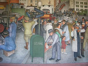 "Victor Arnautoff - ""City Life"" mural, Coit Tower, San Francisco, painted by Arnautoff"