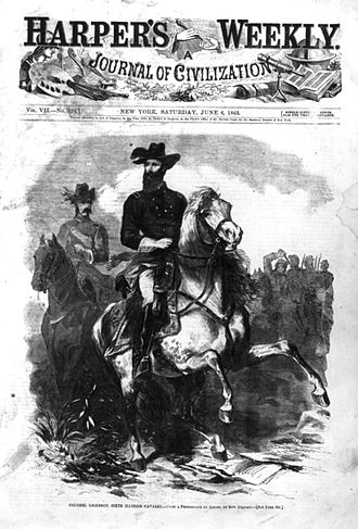 Grierson's Raid - Col. Benjamin Grierson leading his 6th Illinois Cavalry