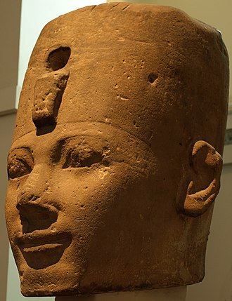 Thutmose I - A stone head, most likely depicting Thutmose I, at the British Museum