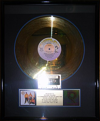 Come and Talk to Me - Image: Come & Talk to Me gold record, Hard Rock Cafe Hollywood
