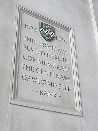 Westminster Bank - Commemorative centenary stone, placed at Lothbury, London in 1936.