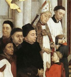 A bishop administering Confirmation. Rogier van der Weyden, The Seven Sacraments, 15th century.In the Latin Rite of the Roman Catholic Church the administration of Confirmation is normally reserved to the local bishop.