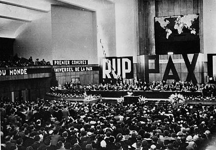 A pacifist rally in Heysel, near Brussels, in 1936 Congres universel pour la paix 1936.jpg