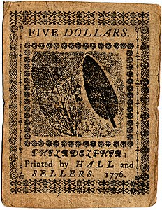 Continental Currency $5 banknote reverse (November 2, 1776).jpg