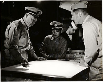 Edwin B. Hooper - Controlling Exercise Tulungan on board USS Eldorado, March 1962. From left, Hooper, Cdr Jose Vasquey (Philippine Navy), unnamed, Col. T. A. Culhane (USMC).