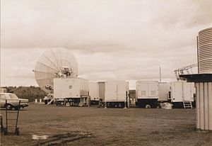 Cooby Creek Tracking Station - Cooby Creek tracking station - trailers and satellite antenna