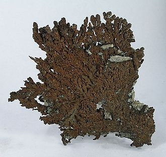 Chino mine - Native copper from Chino (size: 11.2 x 9.3 x 0.4 cm). Chino is well-known among mineral collectors for its many native-copper specimens