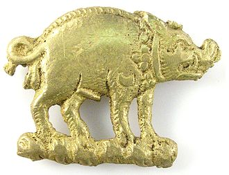 "Queen Margaret: ""Thou elvish-mark'd, abortive, rooting hog!"" Act 1, Scene III. The boar was Richard's personal symbol: Bronze boar mount thought to have been worn by a supporter of Richard III. Copper-alloy boar mount from the Thames foreshore (London).jpg"