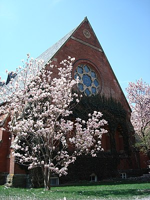 Sage Chapel - Part of the northern face of Sage Chapel during springtime