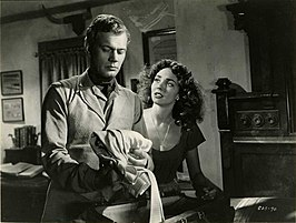Scène uit Duel in the Sun, met Joseph Cotten en Jennifer Jones