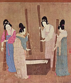 Court ladies pounding silk from a painting (捣练图) by Emperor Huizong.jpg