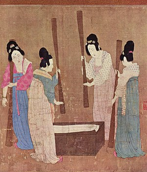 Sericulture - Court Ladies Preparing Newly Woven Silk by Emperor Huizong of Song