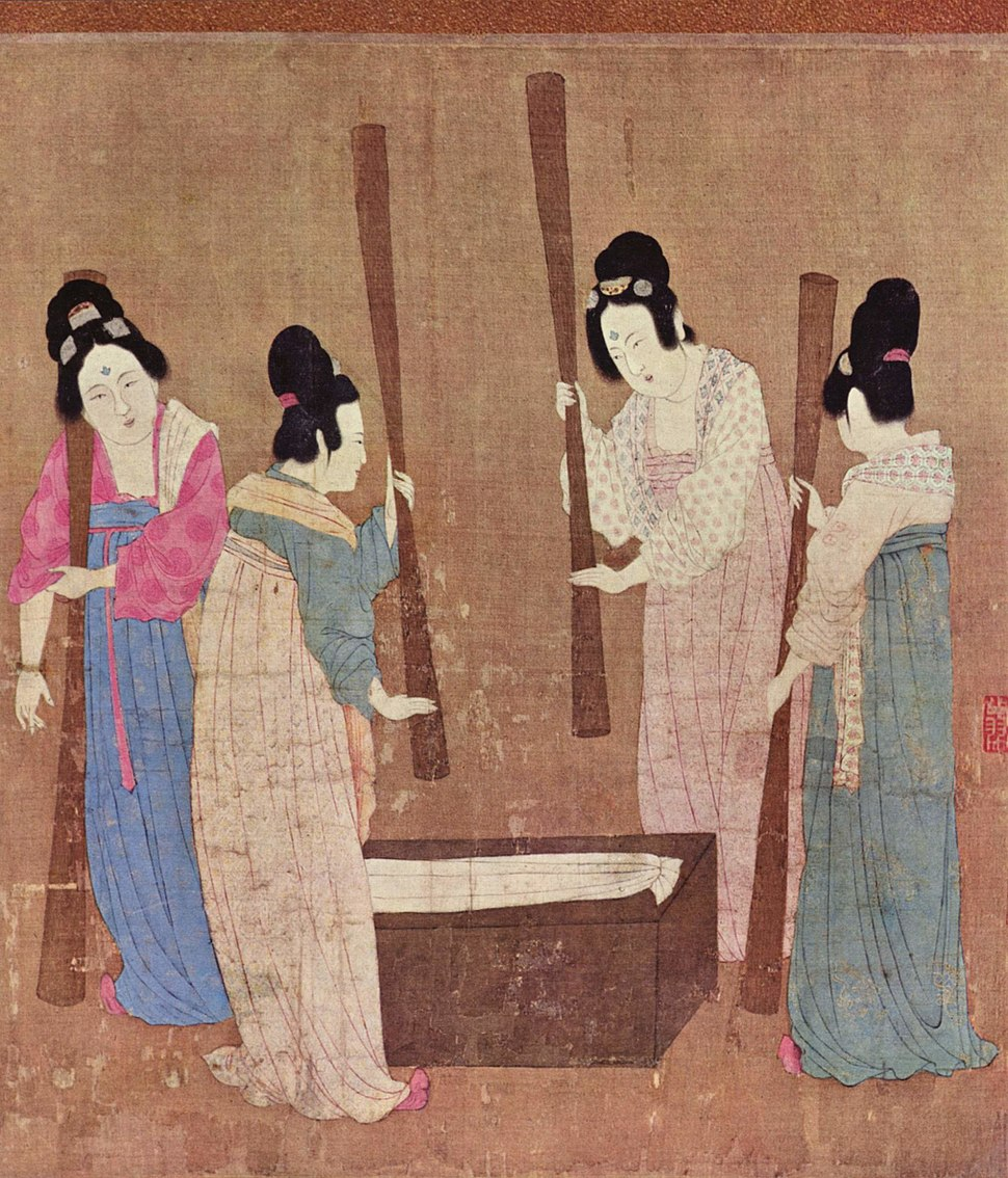 Court ladies pounding silk from a painting (%E6%8D%A3%E7%BB%83%E5%9B%BE) by Emperor Huizong