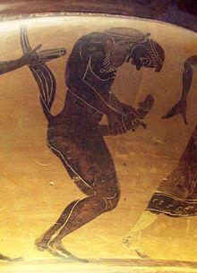 Satiro che si masturba (cratere greco del VI secolo a.C.)