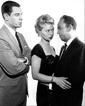 Craig Stevens (actor) - Craig Stevens as Peter Gunn (left) with guest stars Lari Laine and Lewis Charles (1959)